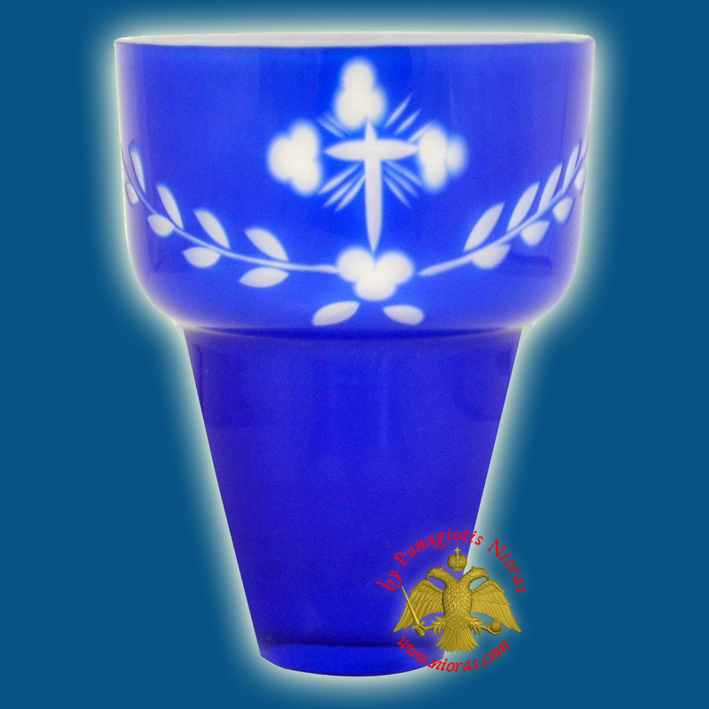Romanian Orthodox Hand Carved Glass Cups Blue - White A 8.5x11.5cm