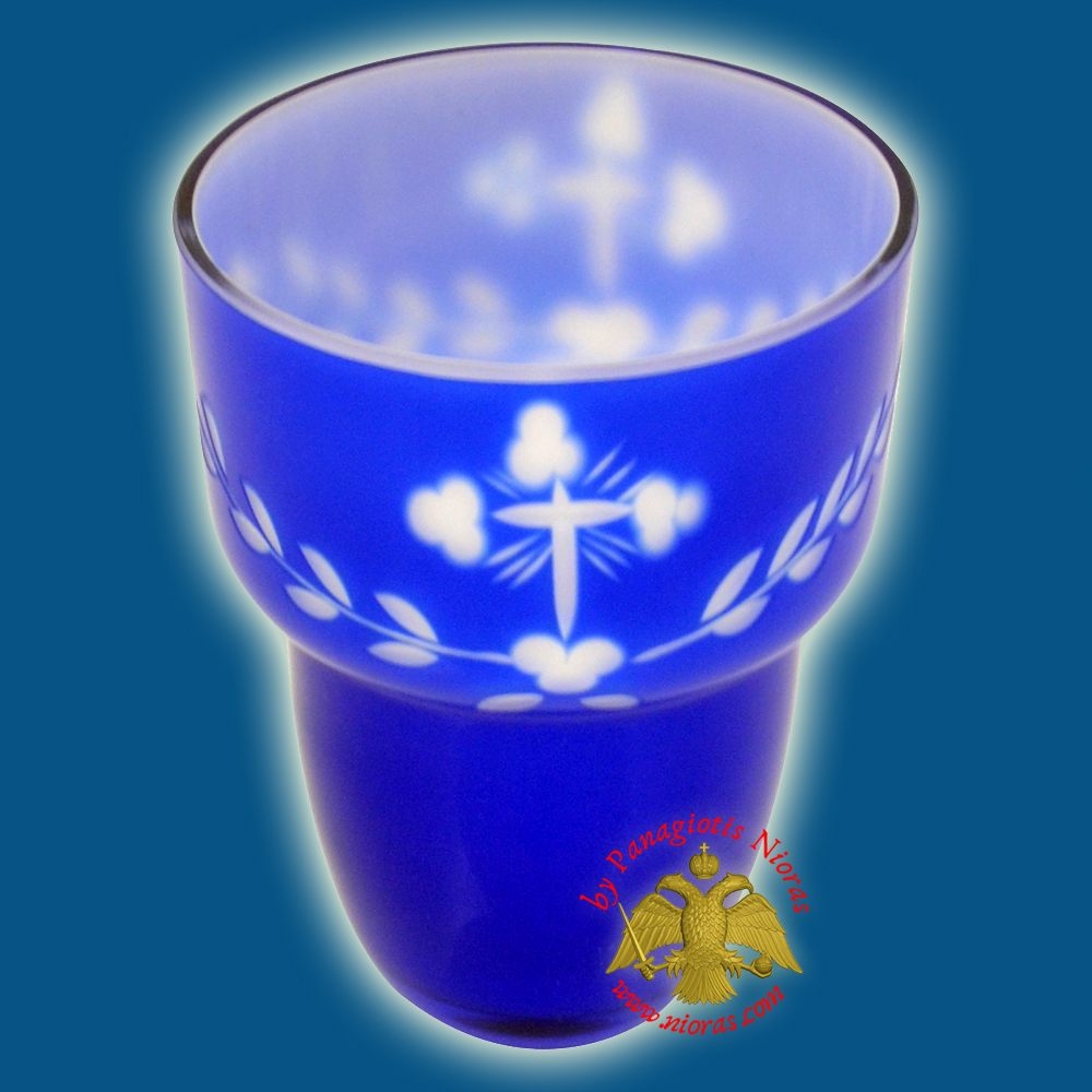 Romanian Orthodox Cross Carved Glass Cups Blue White B 8.5X11.5cm
