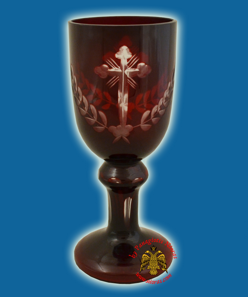 Romanian Orthodox Engraved Glass Cups with Base Red 18cm