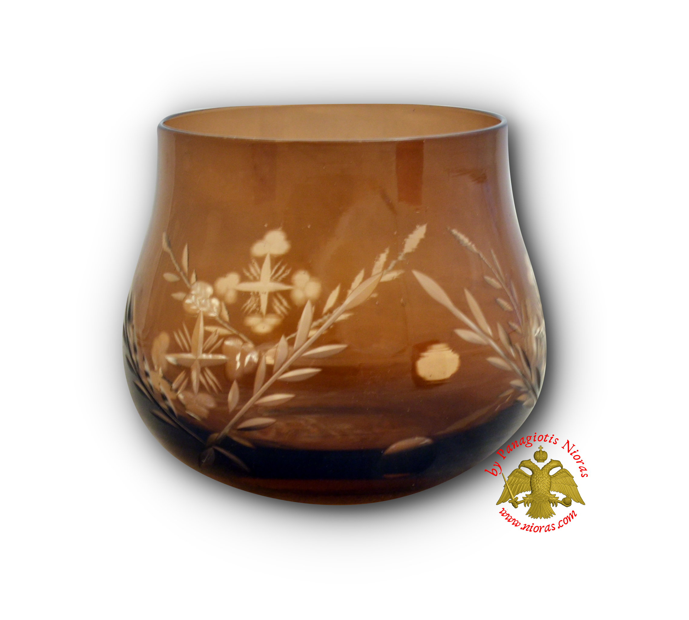 Romanian Orthodox Tea Light Glass Cross Cut Design Brown