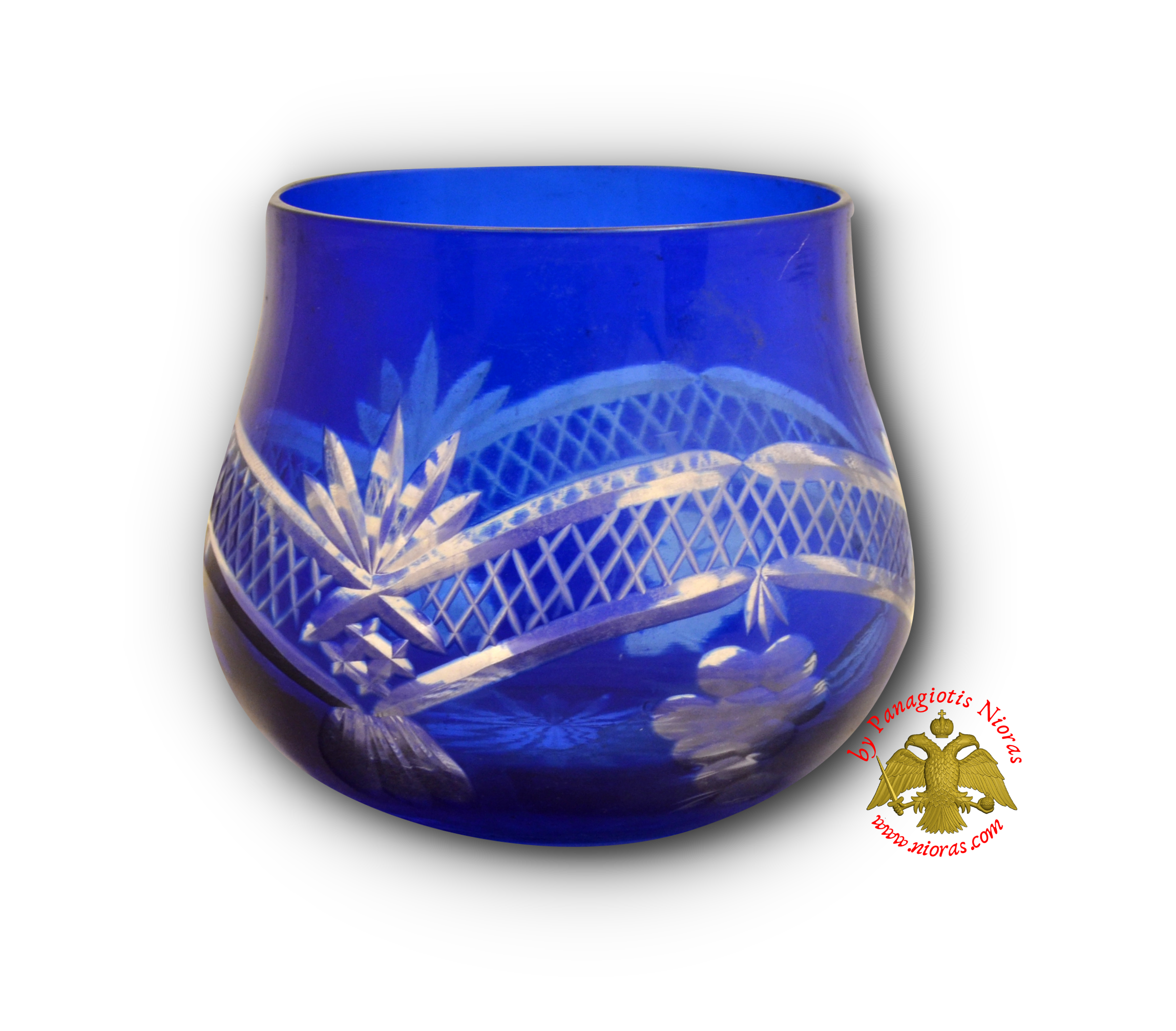 Romanian Orthodox Tea Light Glass Grapes Cut Design Blue