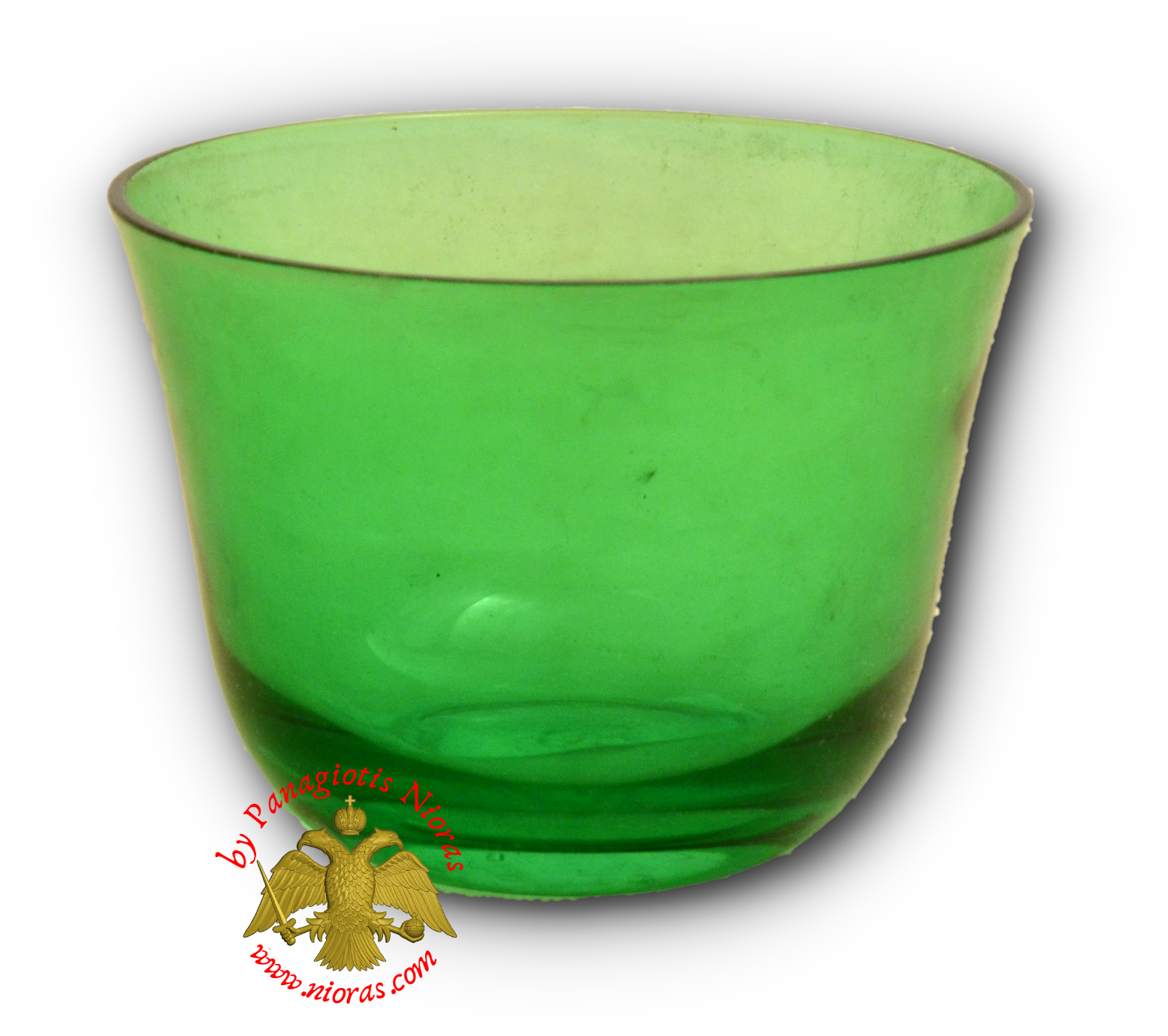 Romanian Orthodox Replacement Glass Votive Standing Cup Green SET of 2