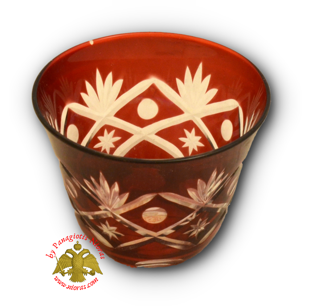 Romanian Orthodox Glass Votive Standing Cup Red SET of 2