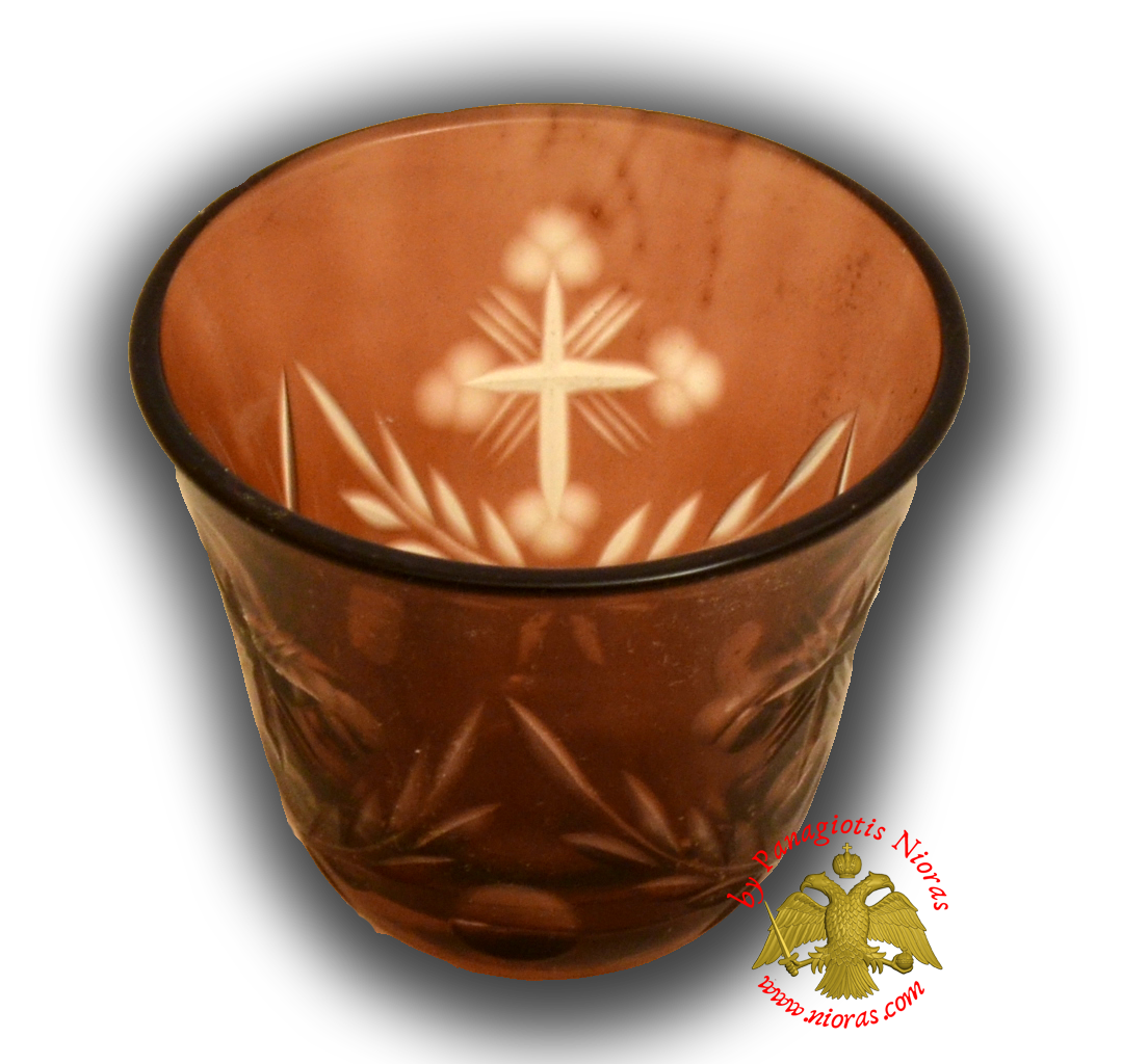 Romanian Orthodox Glass Votive Tea Light Cup Brown SET of 2