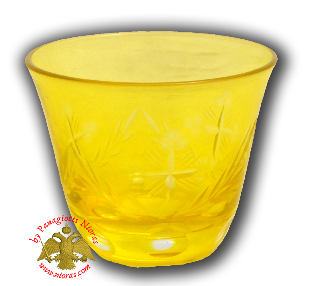 Romanian Orthodox Glass Votive Tea Light Cup Yellow SET of 2
