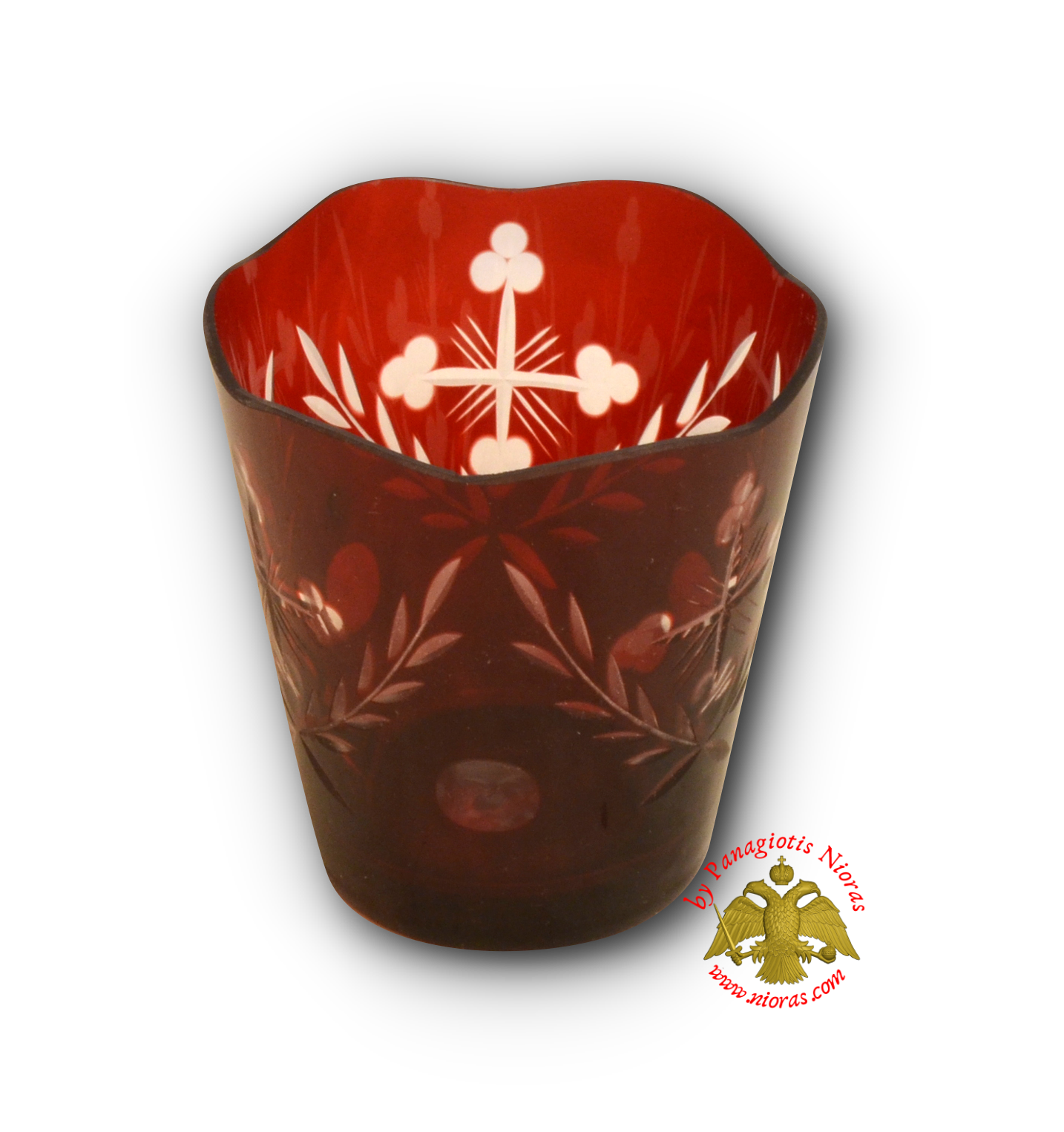Romanian Orthodox Replacement Glass Cut Design Red SET of 2