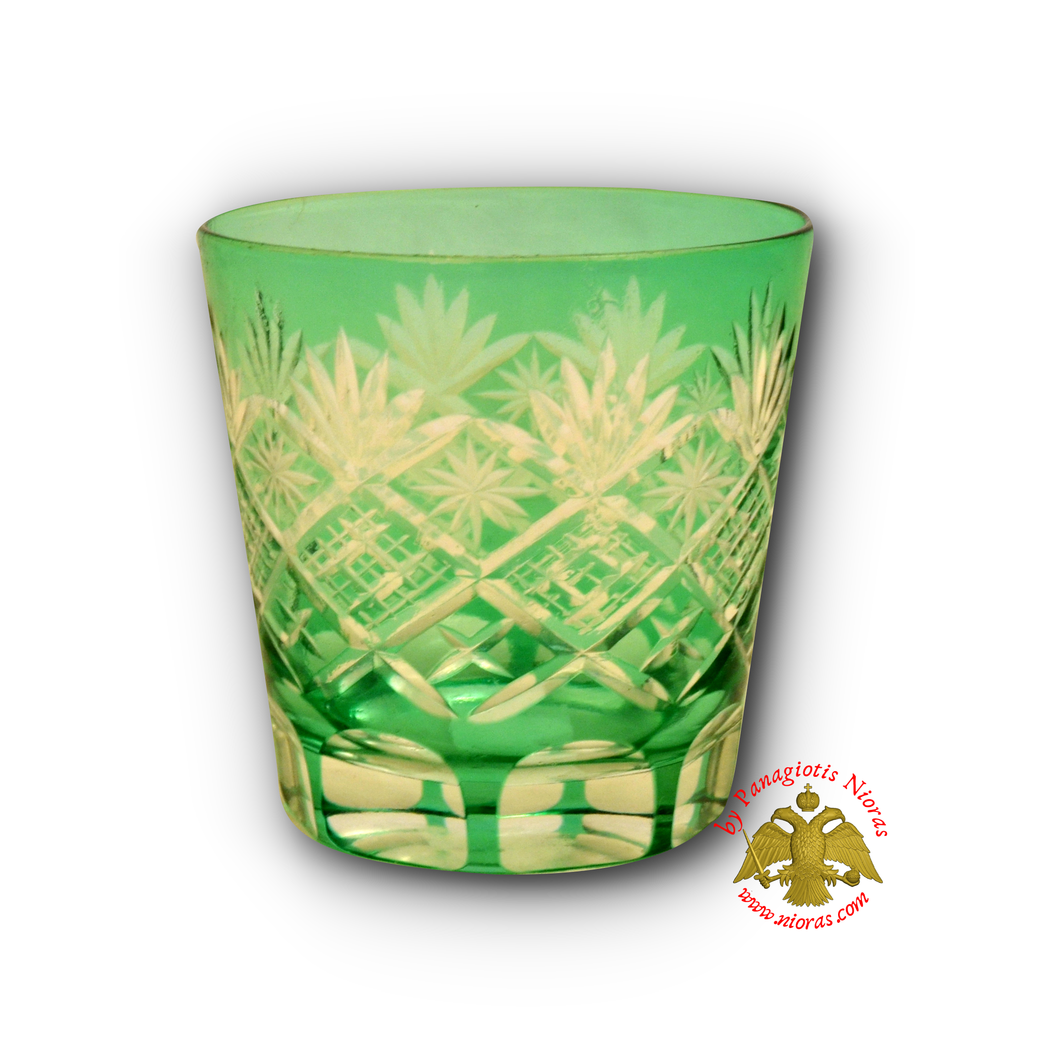 Romanian Orthodox Replacement Glass Cut Design Green SET of 2