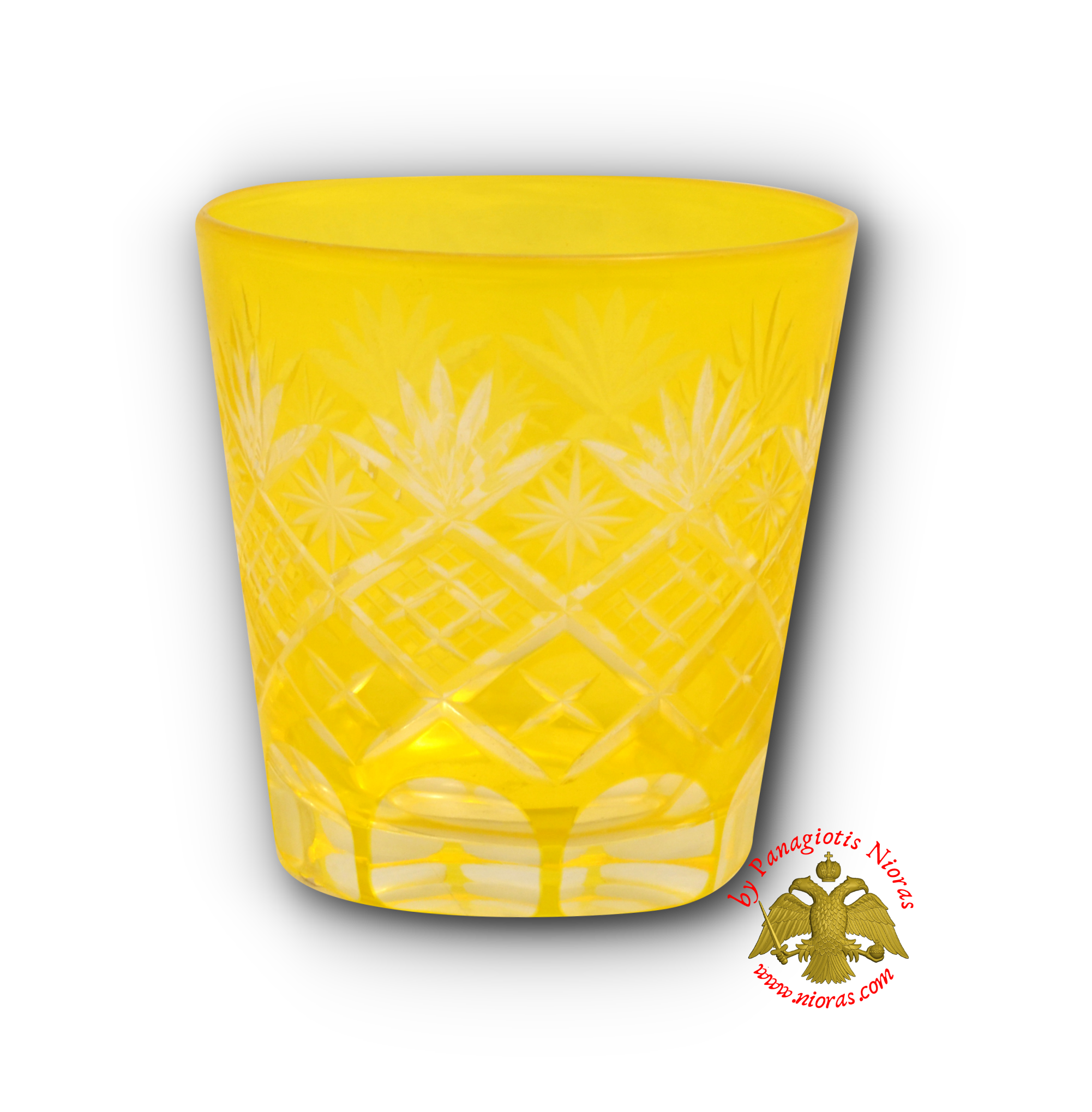Romanian Orthodox Replacement Glass Cut Design Yellow SET of 2