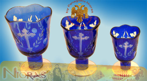 Romanian Orthodox Glass Votives Cups Hand Carved Crosses with Standing Base in Blue Colour