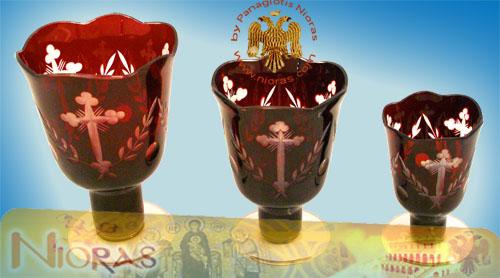 Romanian Orthodox Glass Votives Cups Hand Carved Crosses with Standing Base in Red Colour