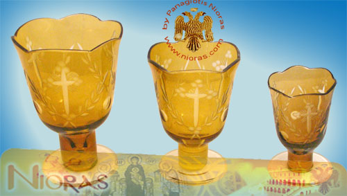 Romanian Orthodox Glass Votives Cups Hand Carved Crosses with Standing Base in Amber Colour