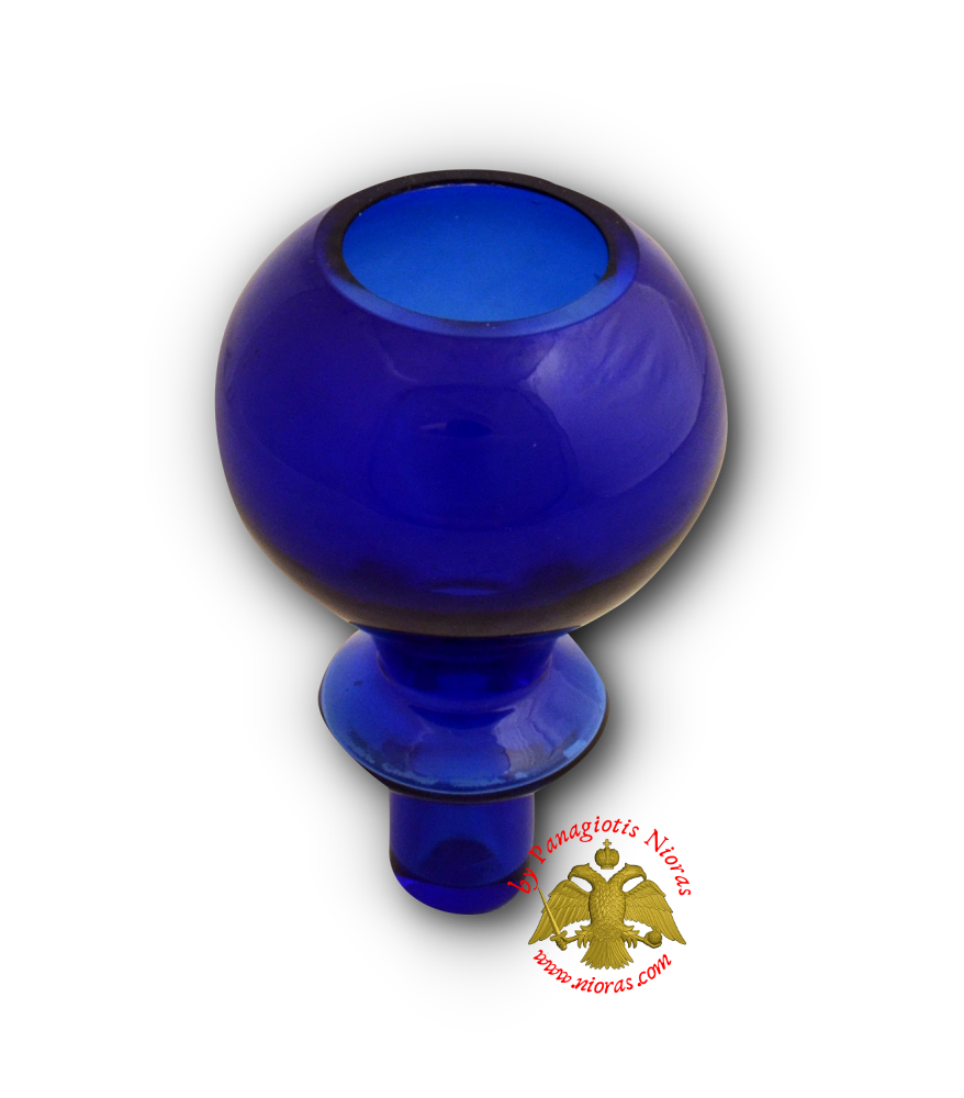 Louserna Orthodox Glass Votive Cup with Standing Poll Blue