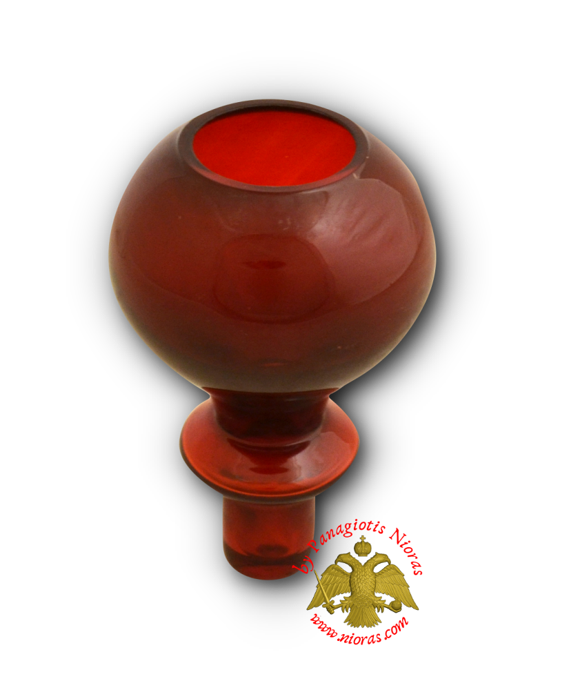 Louserna Orthodox Glass Votive Cup with Standing Poll Red