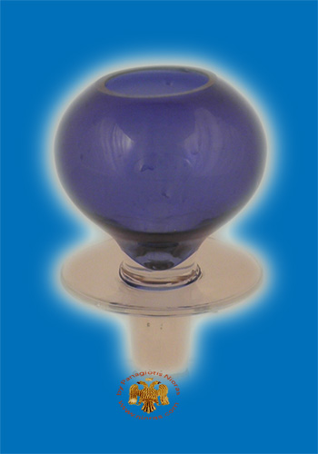 Louserna Orthodox Glass Votive Cup and Standing Poll in Blue Colour