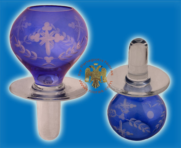 Louserna Orthodox Glass Votive Cup with Hand Carved Crosses and Standing Poll in Blue Colour