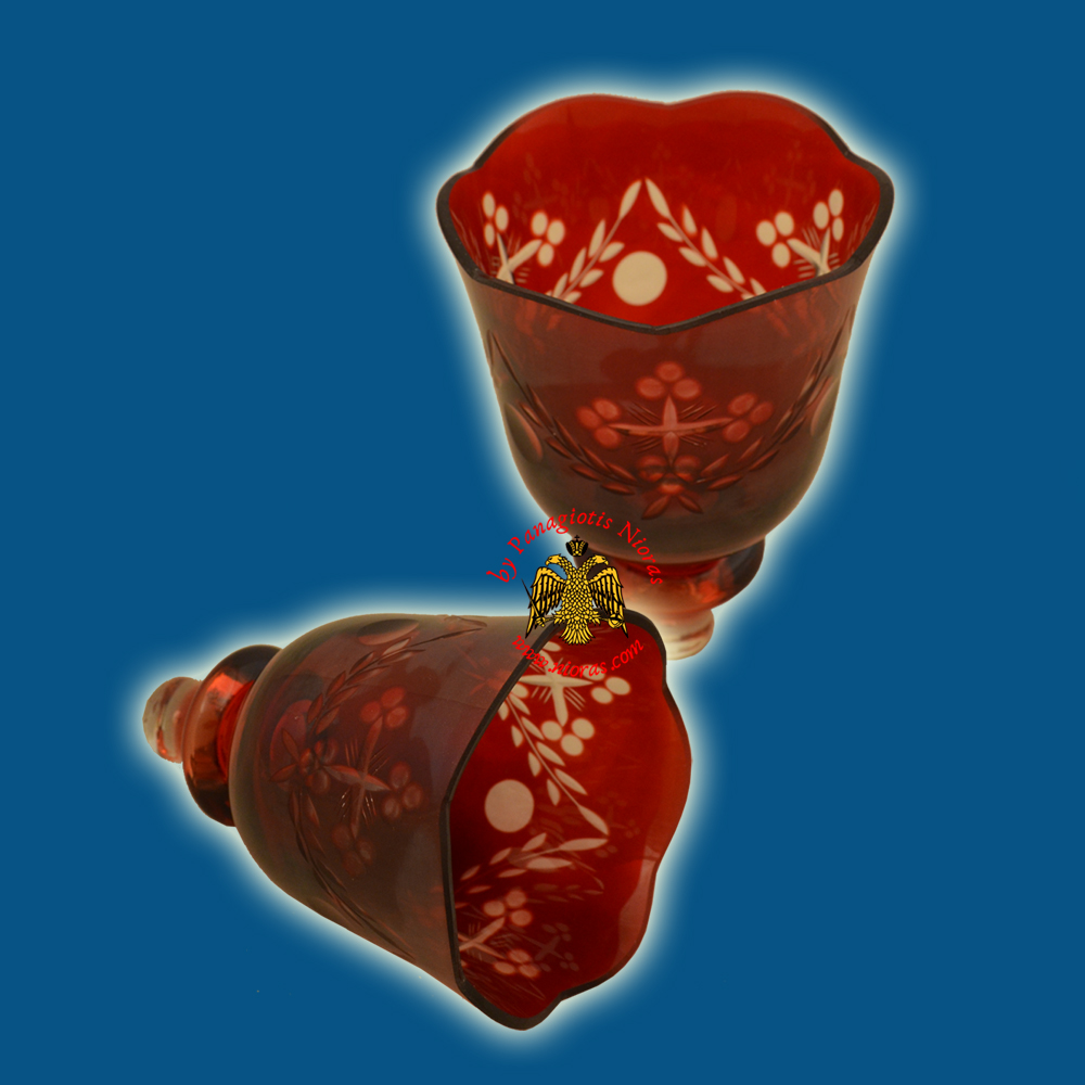 Louserna Orthodox Carved Cross Glass Votive Cup with Standing Poll in Red Clear Colour