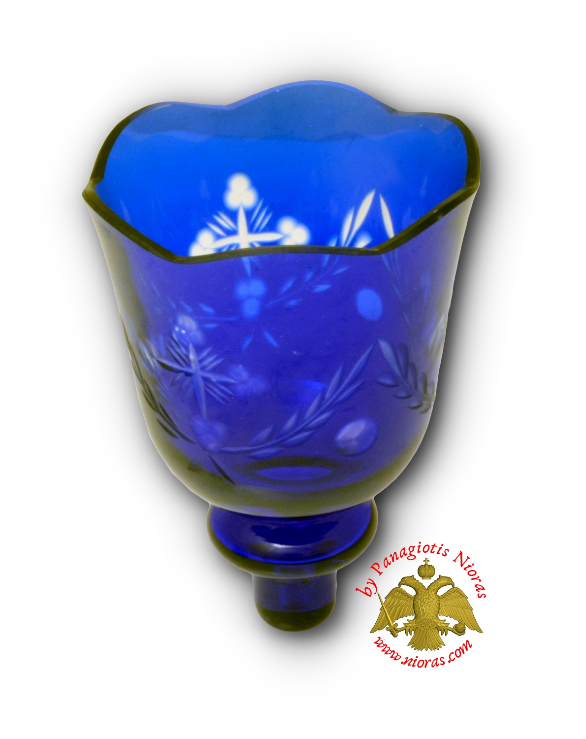Louserna Orthodox Carved Cross Glass Votive Cup with Standing Poll in Blue Clear Colour