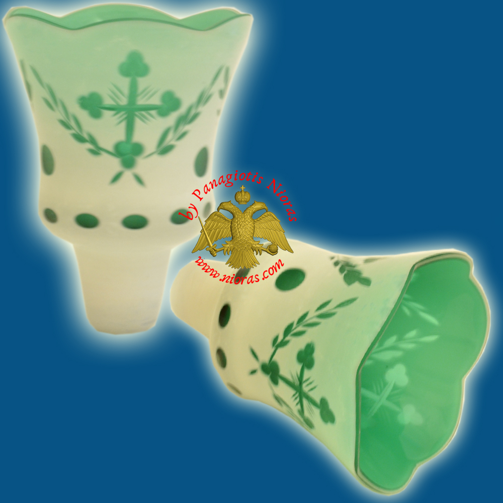 Louserna Orthodox Carved Cross Glass Votive Cup with Poll - White Green Colour H:13cm