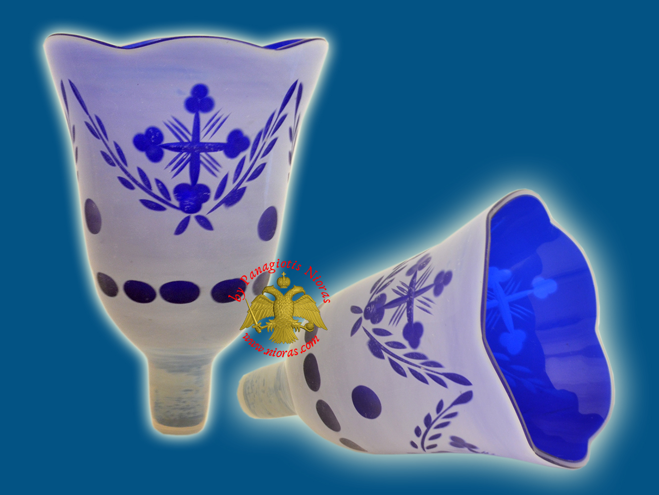 Louserna Orthodox Carved Cross Glass Votive Cup with Poll - White Blue Colour H:14cm