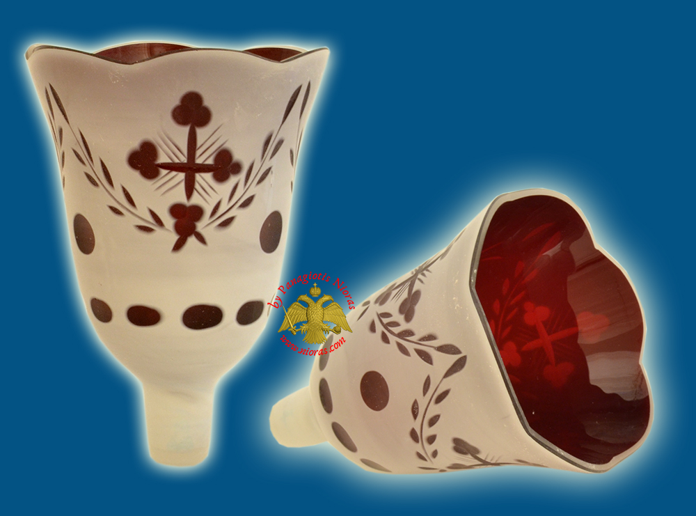 Louserna Orthodox Carved Cross Glass Votive Cup with Poll - White Red Colour H:14cm