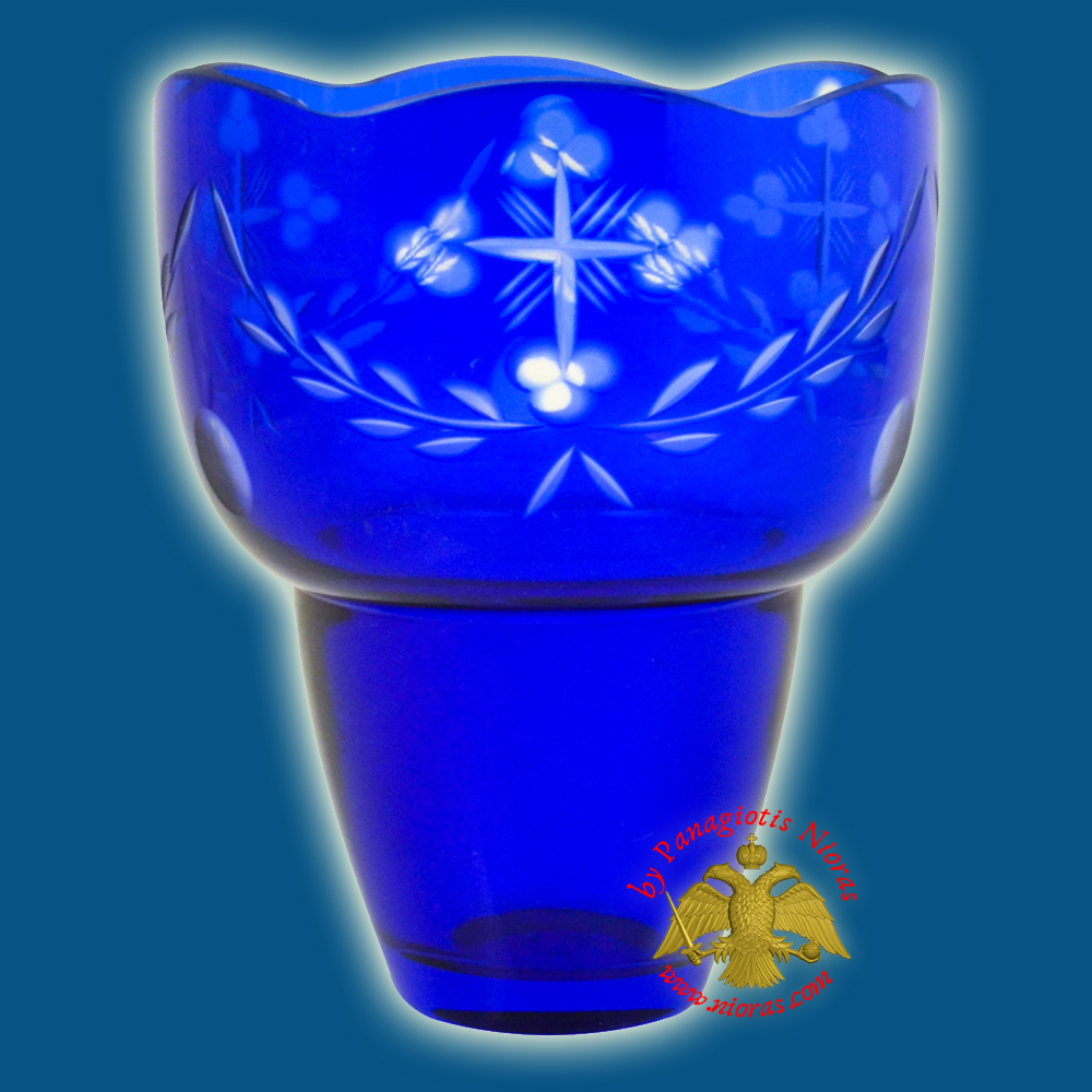 Romanian Orthodox Hand Carved with Crosses Votive Glass Cup Blue Clear 9.50x12cm