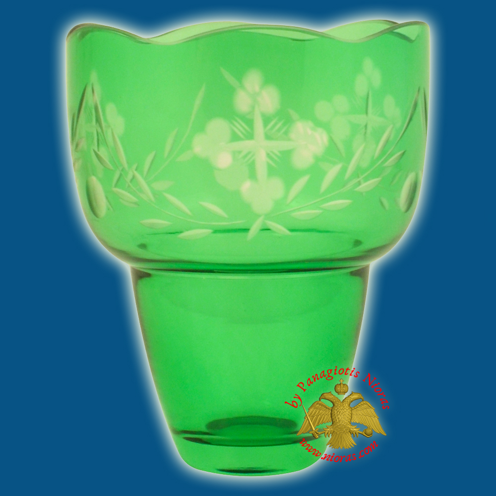 Romanian Orthodox Hand Carved with Crosses Votive Glass Cup Green