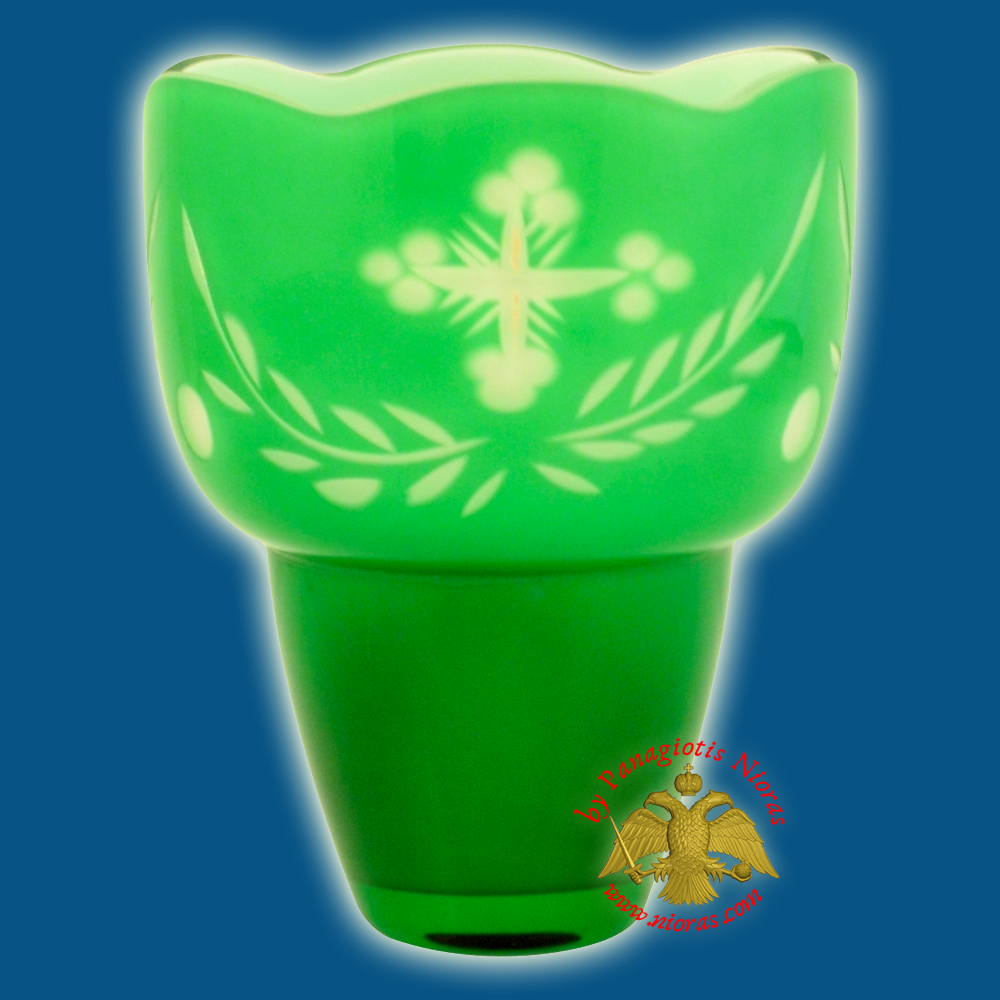 Romanian Orthodox Hand Carved with Crosses Votive Glass Cup Green with White Inner