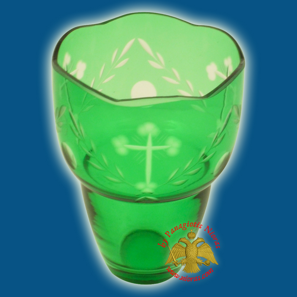 Romanian Orthodox Hand Carved with Crosses Votive Glass Cup Green 8.50x10.50cm