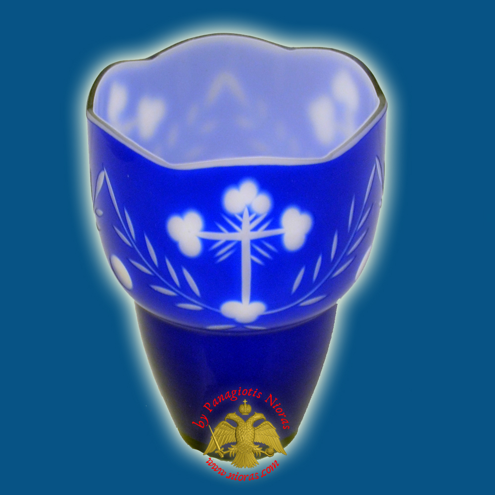 Romanian Orthodox Hand Carved with Crosses Votive Glass Cup Blue White 8.50x10.50cm