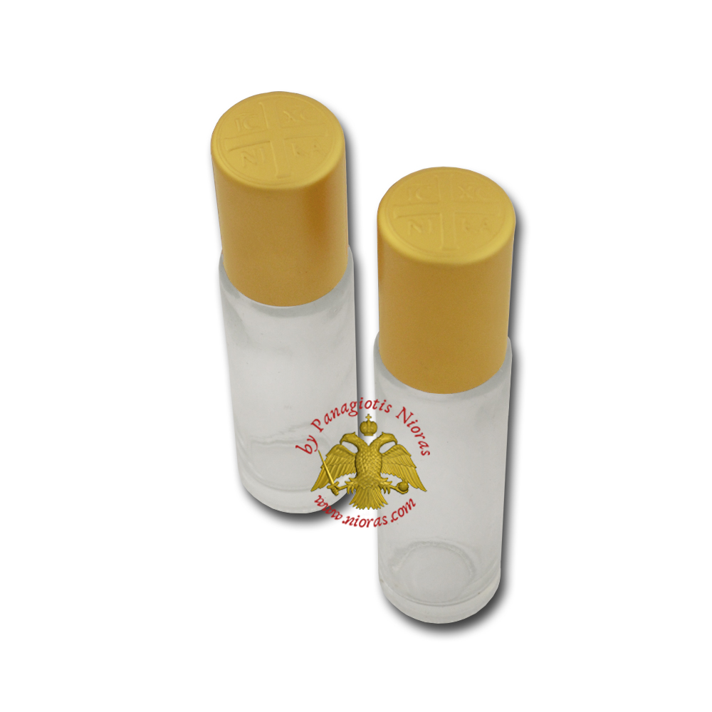 Holy Water or Holy Oil Bottle Cylinder with ICXC Cross Roll On 8.5x2cm Gold Color