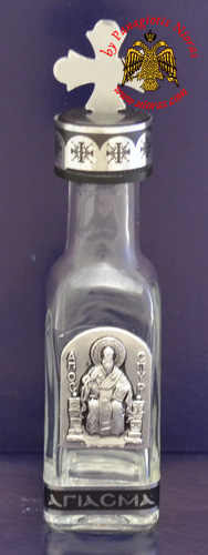 Holy Water or Holy Oil Bottle Tall Square with Holy Metal Saint Spyridon Icon and Cross in the Lid