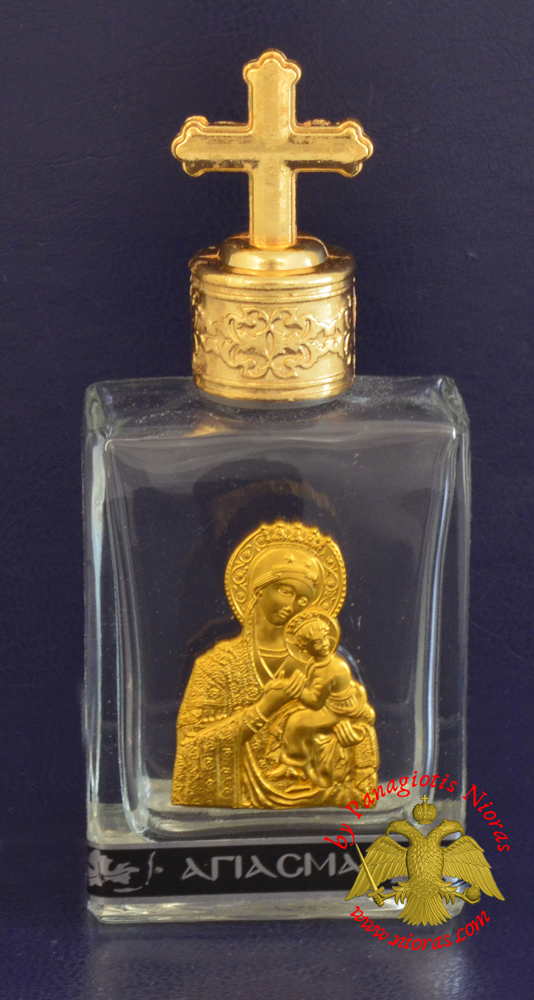 Holy Water Bottle With Golden Theotokos Icon and Metal Lid with Byzantine Cross 6x5cm