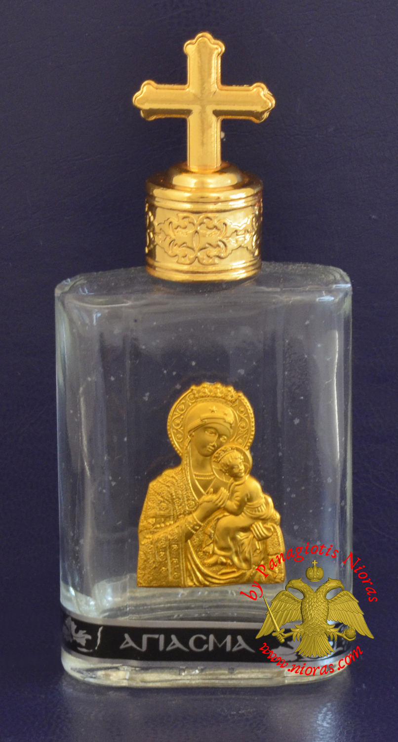 Holy Water Bottle With Golden Theotokos Icon and Metal Lid with Byzantine Cross 7x5cm