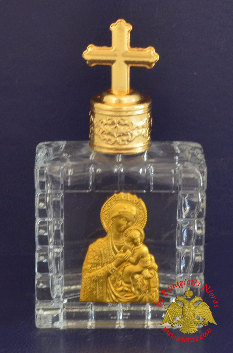 Holy Water Bottle With Golden Theotokos Icon and Metal Lid with Byzantine Cross 6x6cm