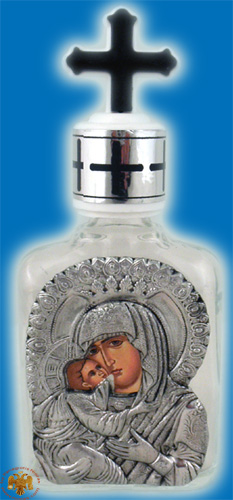 Holy Water or Holy Oil Bottle Rectangular with Holy Metal Theotokos Icon and Cross in the Lid