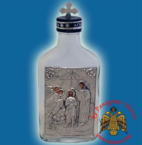 Holy Water or Holy Oil Bottle Clear with Holy Metal Epiphany Icon and Cross in the Lid
