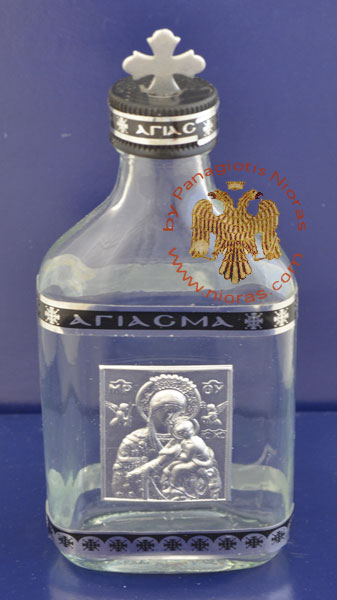 Holy Water or Holy Oil Bottle Clear with Holy Metal Theotokos Icon and Cross in the Lid
