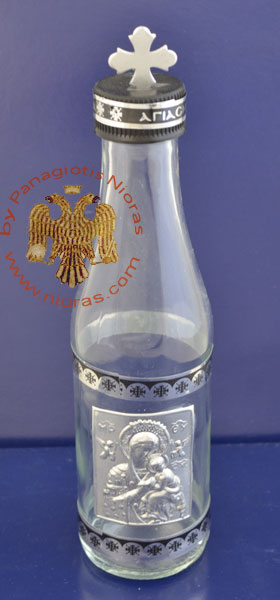 Holy Water or Holy Oil Bottle Clear Cylinder with Holy Metal Theotokos Icon and Cross in the Lid