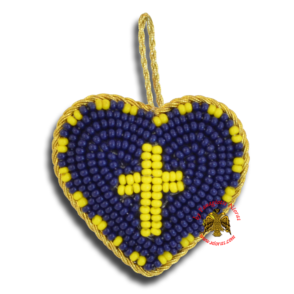 Orthodox Filakto Amulet Pendant Blue Heart with Light Yellow Cross Beads