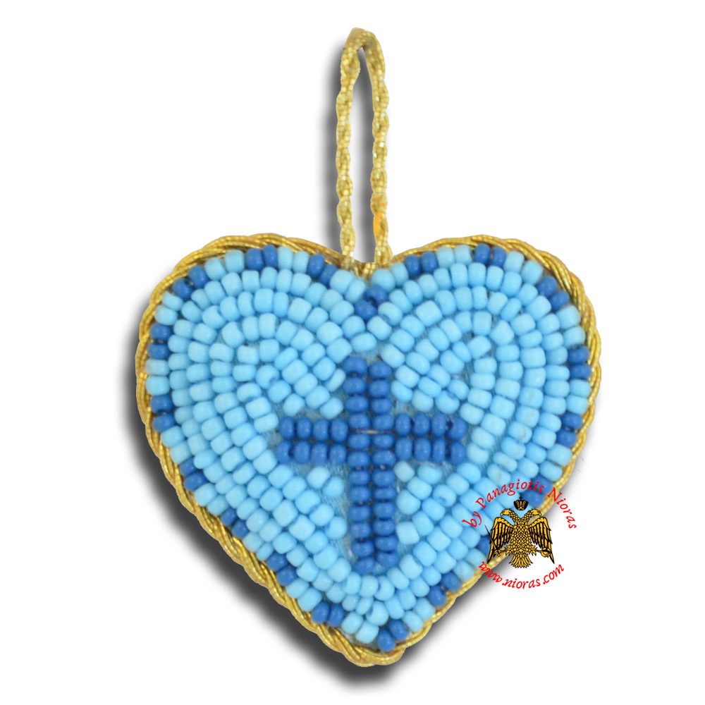 Orthodox Filakto Amulet Pendant Light Blue Heart with Blue Cross Beads