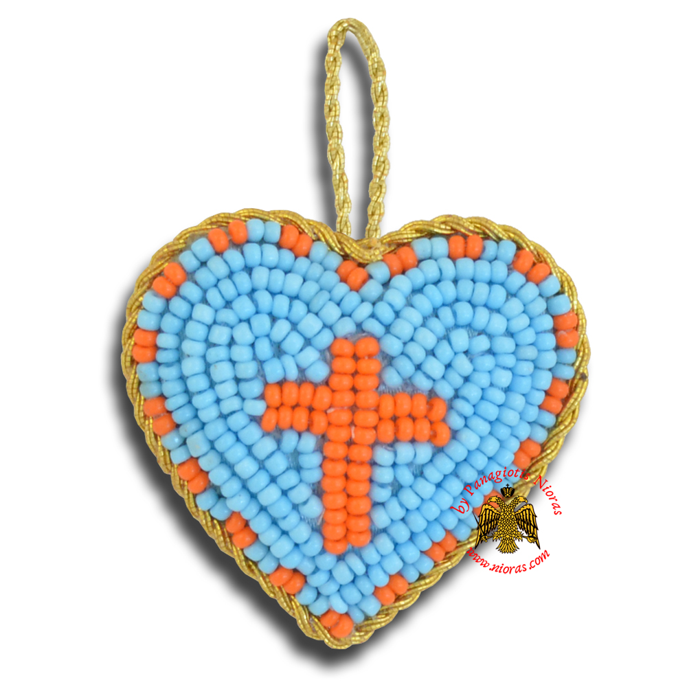 Orthodox Filakto Amulet Pendant Light Blue Heart with Orange Cross Beads