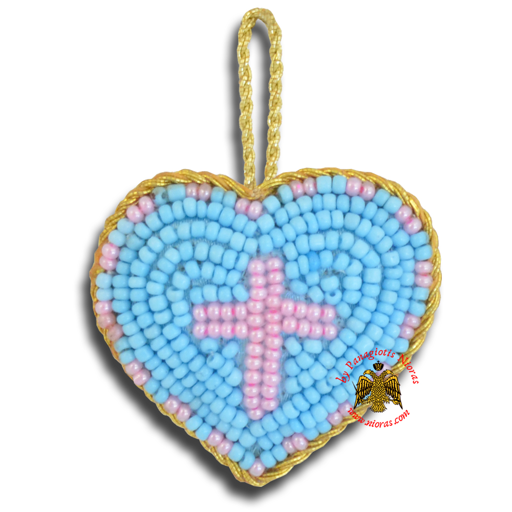 Orthodox Filakto Amulet Pendant Light Blue Heart with Pink Cross Beads