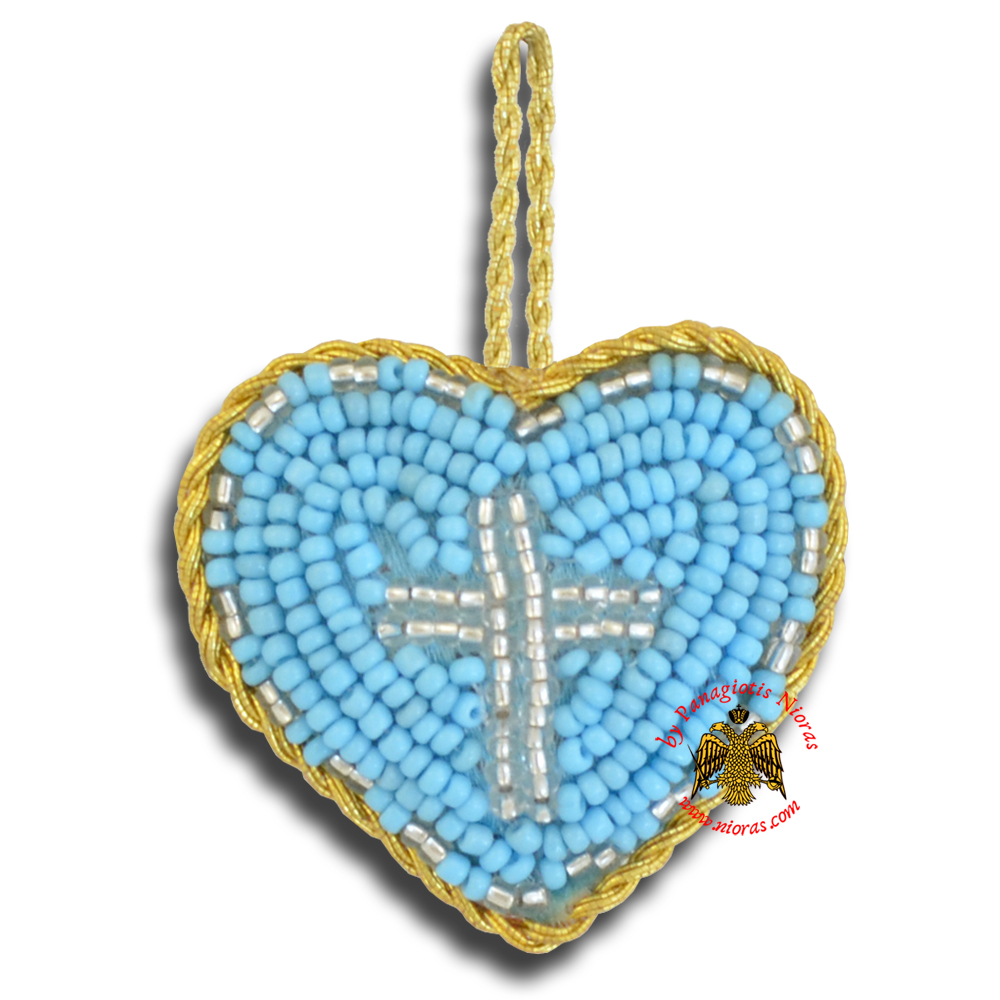 Orthodox Filakto Amulet Pendant Light Blue Heart with Silver Cross Beads