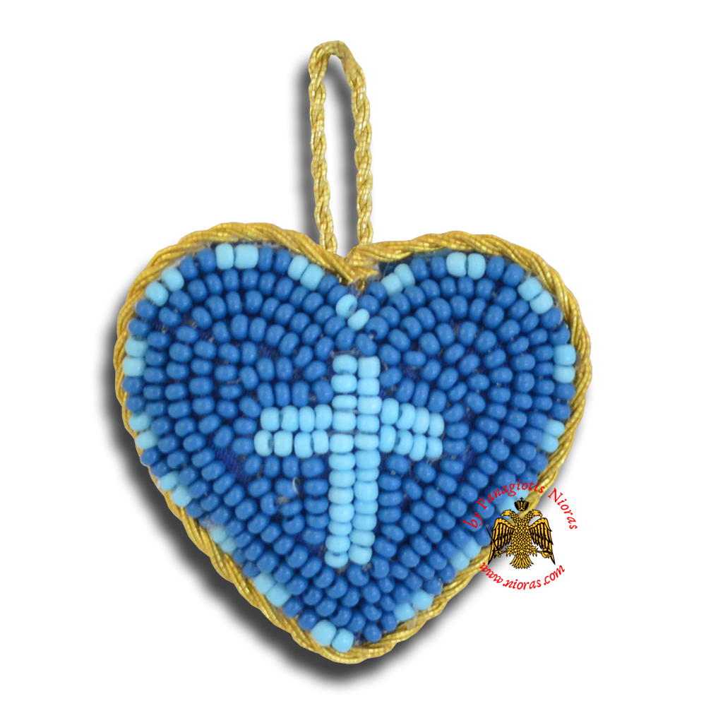 Orthodox Filakto Amulet Pendant Medium Blue Heart with Light Blue Cross Beads