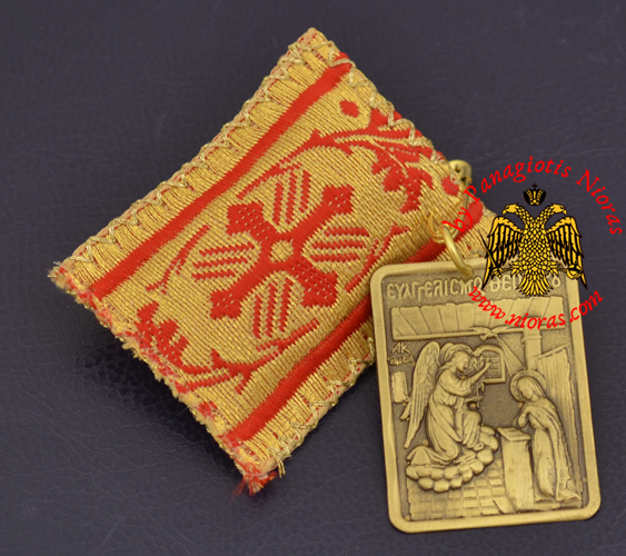 Amulet - Pendant Rectangular with Metal Icon of Annunciation