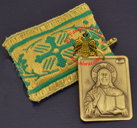 Amulet - Pendant Rectangular with Metal Icon of Christ