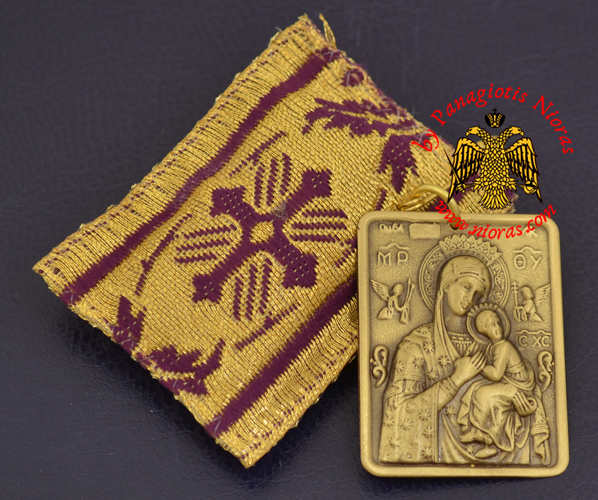 Amulet - Pendant Rectangular with Metal Icon of Holy Virgin Mary