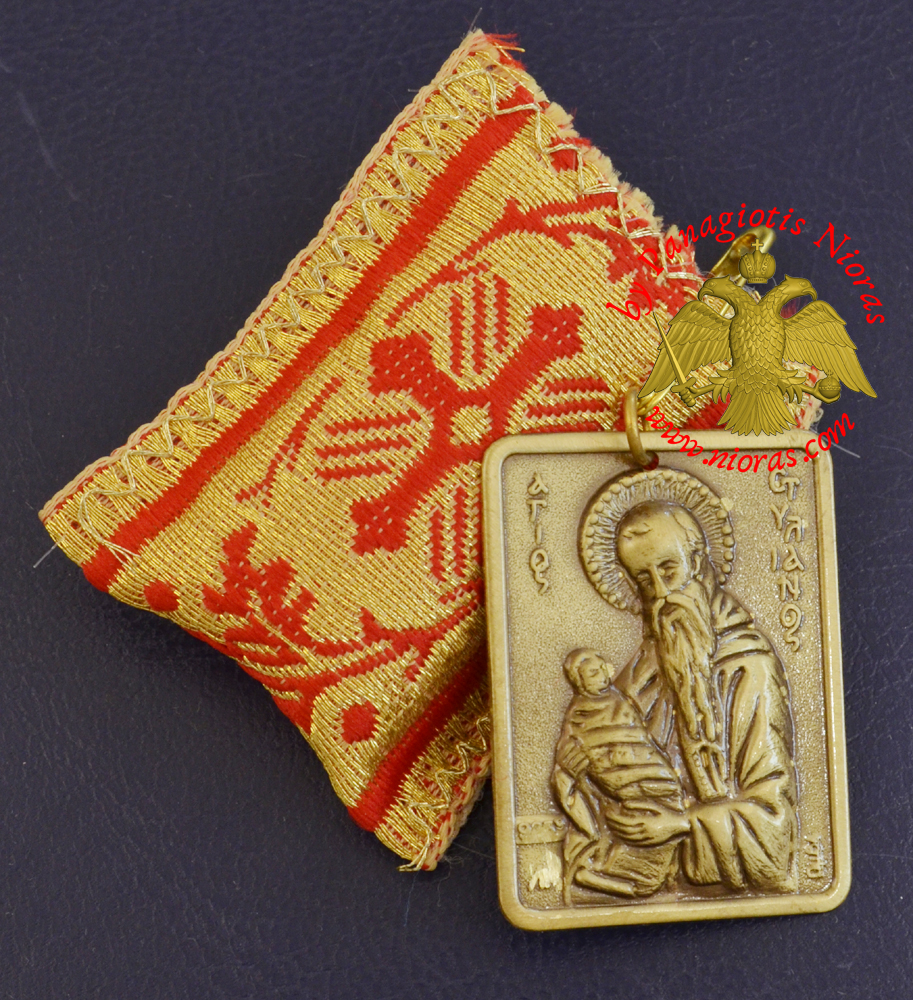 Amulet Orthodox Filakto - Pendant Rectangular with Metal Icon of Saint Stylianos