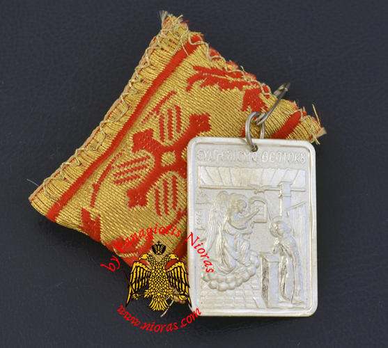 Amulet - Pendant Rectangular with Silver Icon of Annunciation
