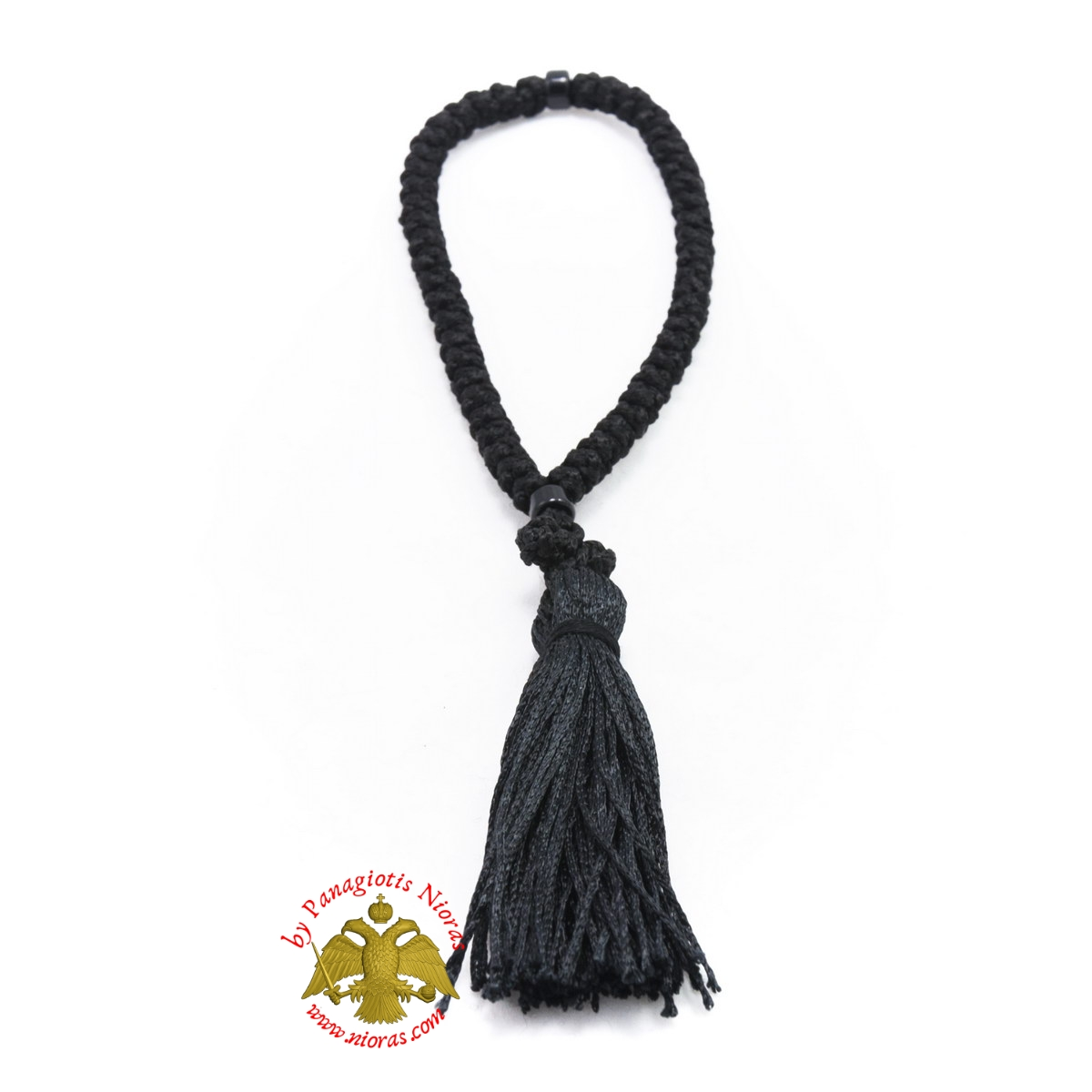 Orthodox Christian Black Prayer Rope 50 knots with Black Beads
